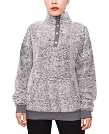 Juniors' Snap-Front Faux-Sherpa Top