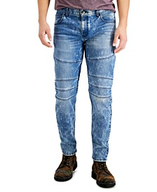 INC Men's Tapered-Fit Moto Medium Snow Washed Jeans, Created for Macy's