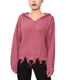 Juniors' Ripped-Hem Pullover Hoodie Sweater