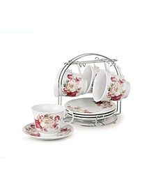 8 Piece 8oz Coffee Cup and Saucer Set, Service for 4