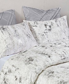 Pearl Metallic Printed Velvet California King Comforter Set, 3 Piece