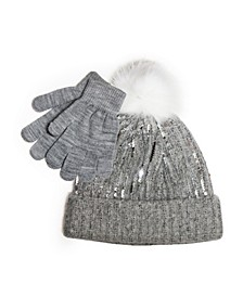 Big Girls Sequins Beanie Cuff with Magic Gloves, 2 Piece Set