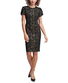 Calvin Klein Metallic-Print Sheath Dress