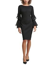 Ruffle-Sleeve Sheath Dress