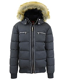 Men's Heavyweight Jacket With Detachable Faux Fur Hood