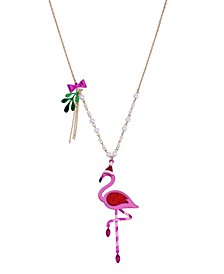 "Festive Flamingo Pendant Long Necklace, 28"" + 3"" extender"