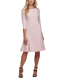 Puff-Sleeve Fit & Flare Dress