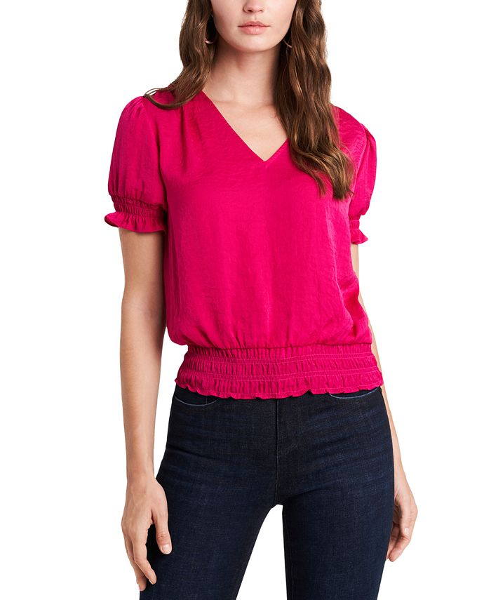 1.STATE - Smocked V-Neck Top