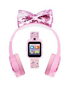 Kid's Playzoom Pink Sparkle Tpu Strap Smart Watch with Headphones Set 41mm