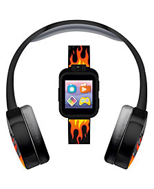 Kid's Playzoom Flame Print Tpu Strap Smart Watch with Headphones Set 41mm