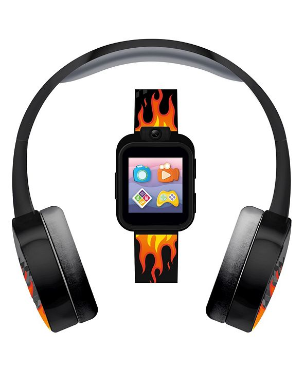 iTouch Kid's Playzoom Flame Print Tpu Strap Smart Watch with Headphones Set 41mm