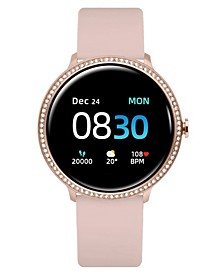 Women's Sport's Crystal Encrusted Blush Silicone Strap Smart Watch 43.2mm
