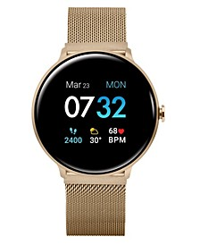 Women's Sport's Gold Tone Stainless Steel Mesh Strap Smart Watch 43.2mm