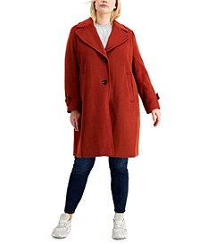Plus Size Single-Breasted Peacoat, Created for Macy's