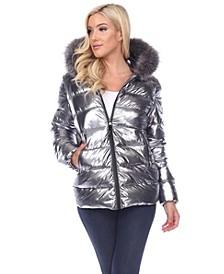 Women's Metallic Puffer Coat with Hoodie