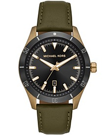 Men's Layton Olive Leather Watch 44mm