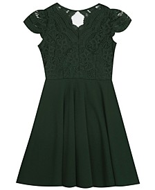Big Girl Scuba Crepe Skater Dress With Lace Bodice