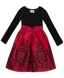 Big Girl Velvet Bodice To Flocked Skirt