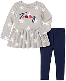 Little Girls 2 Piece Stars Tunic and Legging Set