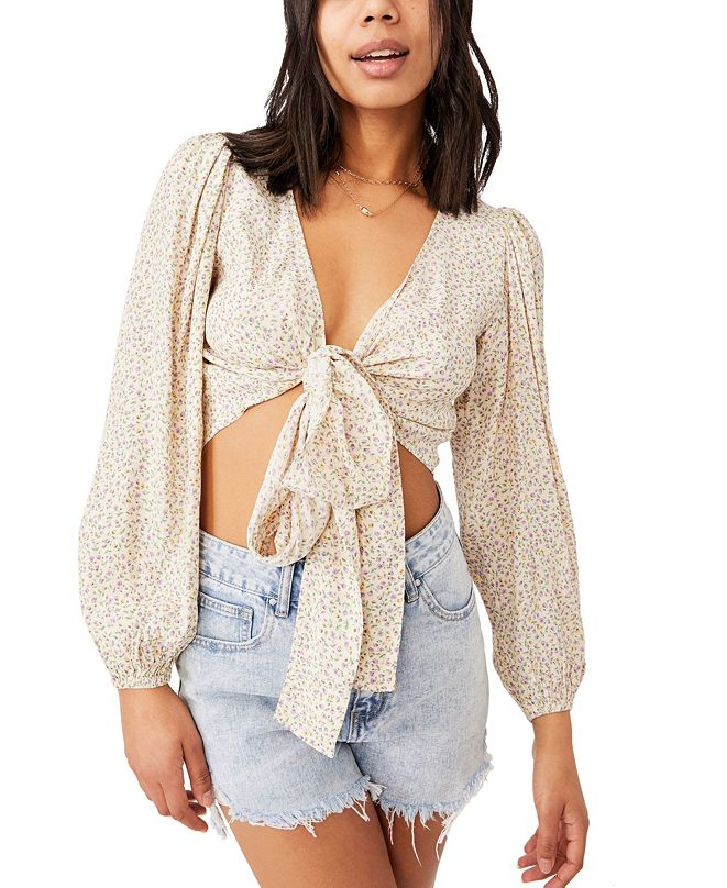 COTTON ON Women's Willow Puff Sleeve Wrap Blouse