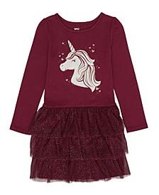 Little Girls Long Sleeve Graphic Tutu Dress