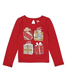 Toddler Girls Long Sleeve Flip Sequin Present Graphic Tee