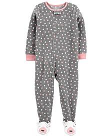 Toddler Girl 1-Piece Polka Dot Fleece Footie PJs