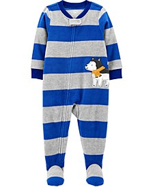 Baby Boy 1-Piece Dog Fleece Footie PJs