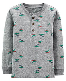 Toddler Boy Holiday Print Snow Yarn Henley