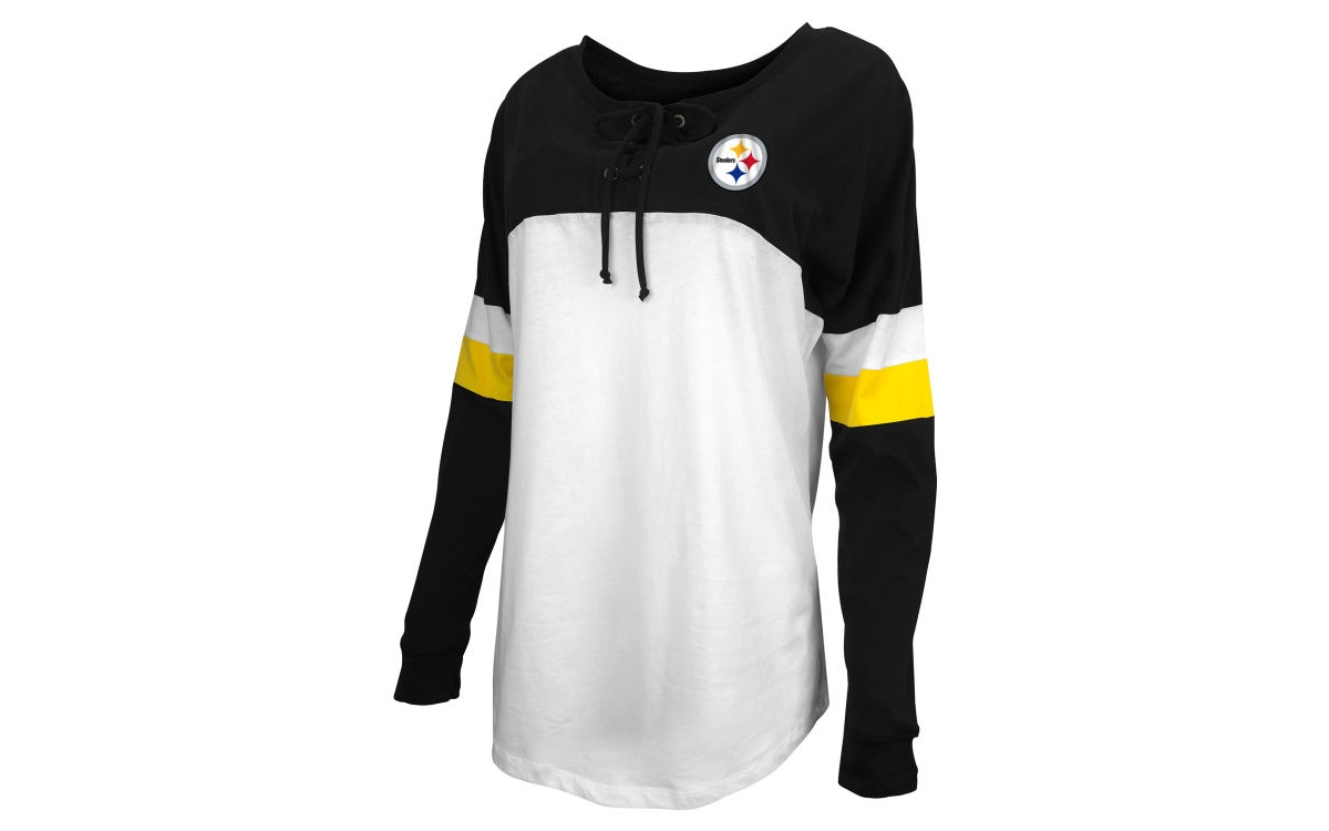 5th & Ocean Pittsburgh Steelers Womens Lace Up Long Sleeve T-Shirt