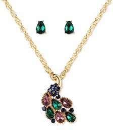 Gold-Tone Multicolor Crystal Peacock Pendant Necklace & Stud Earrings Set, Created for Macy's