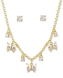 Gold-Tone Crystal Butterfly Statement Necklace & Stud Earrings Set, Created for Macy's