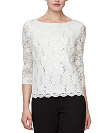 Sequinned Lace Cowl-Back Top