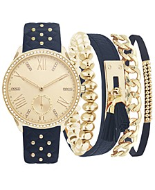 Women's Navy Strap Watch 38mm Gift Set