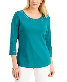 Petite Embellished 3/4-Sleeve Top, Created for Macy's