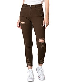 Juniors' Brown High Rise Destructed Skinny Ankle Jeans