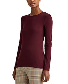 Plus-Size Cotton-Blend Long-Sleeve Top