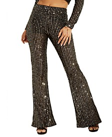 Star Sequin Flared Pants