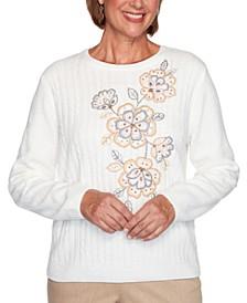 Petite Glacier Lake Embroidered Chenille Sweater