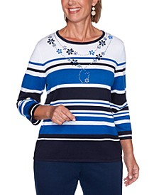 Petite Vacation Mode Embellished Striped Sweater