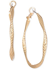 """Gold-Tone Textured Spiral Medium Hoop Earrings, 1.7"""", Created for Macy's"""