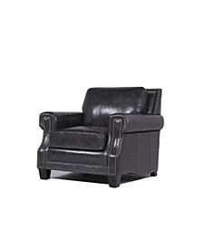 Madysson Italian  Leather Armchair in Charcoal Gray