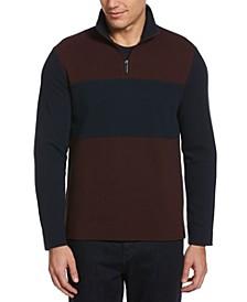 Men's Waffle Mesh Colour Block Quarter Zip Jacket