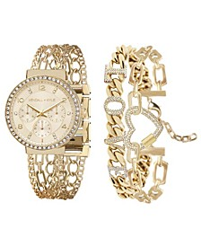 Women's Two-Tone Gold and White Crystal 'Love' Stainless Steel Strap Analog Watch and Bracelet Set 40mm