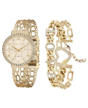 Women's Kendall + Kylie Two-Tone Gold and White Crystal 'Love' Stainless Steel Strap Analog Watch and Bracelet Set 40mm