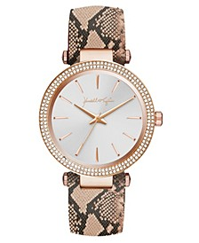 Women's Rose Gold Tone with Blush Snakeskin Stainless Steel Strap Analog Watch 40mm