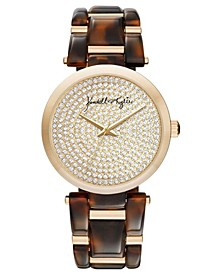 Women's Acrylic Brown Link with Gold Tone Accents Stainless Steel Strap Analog Watch 40mm