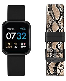 Women's Black and Python Print Straps Smart Watch Set 36mm