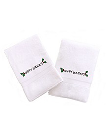 Textiles Embroidered Hand Towels with Happy Holiday with Ornament Set of 2