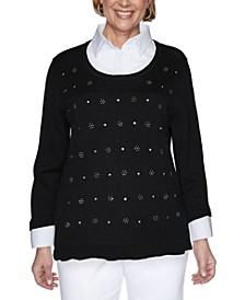 Women's Madison Avenue Beaded Diamond Two-for-One Sweater